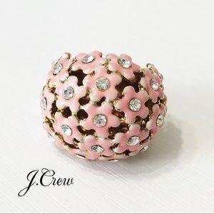 J. Crew • Pink Flower & Crystal Cocktail Ring
